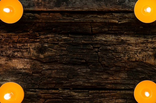 木製の背景にスパキャンドルテンプレート