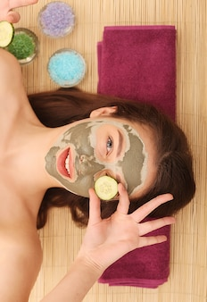 Spa. care facial. woman taking care of her face in spa treatments