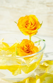 Spa composition of candles, bath salt and roses