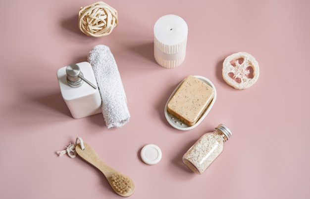 Spa composition with bath accessories for body care flat lay.