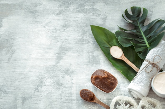 Spa composition with body care items on a light background.