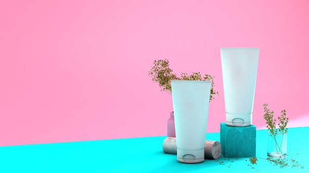 Spa composition with body care items on a pink background