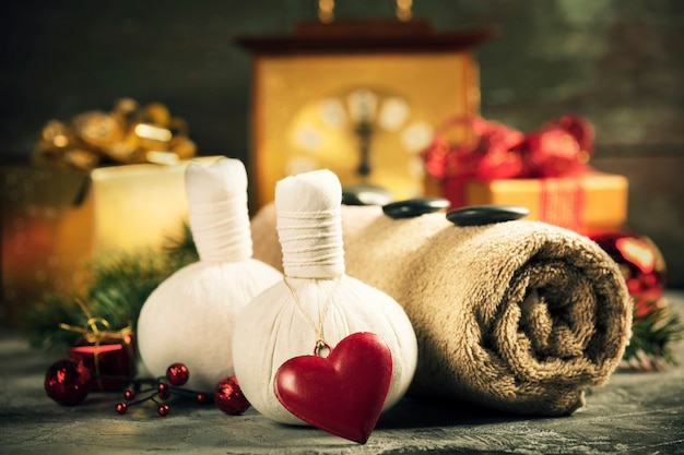 Spa composition with christmas decoration. holiday spa treatment
