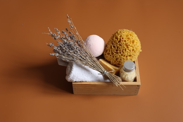 Spa composition with a set for personal body hygiene, copy space.