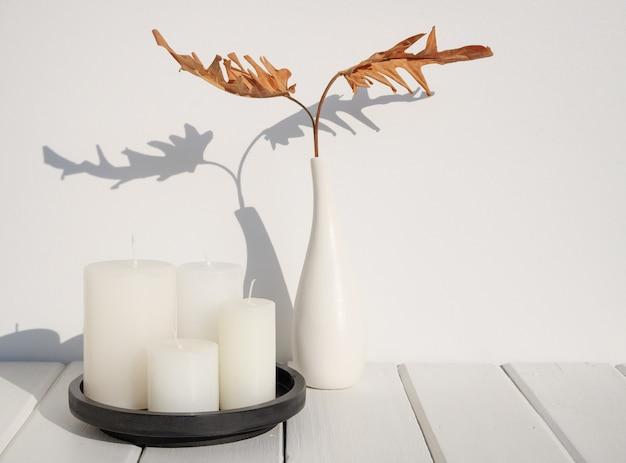 나무 테이블 지구 톤 룸 인테리어, 긴 그림자에 현대 세라믹 흰색 꽃병에 흰색 촛불과 philodendron 건조 잎 스파 구성