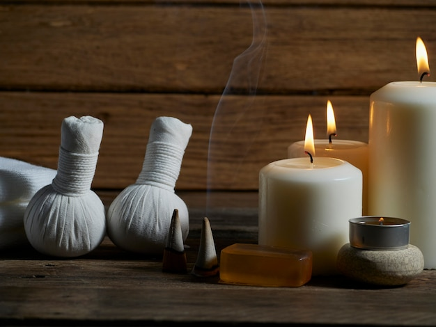Spa composition on wooden background.