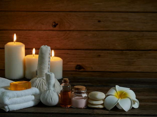 Spa composition on wooden wall.
