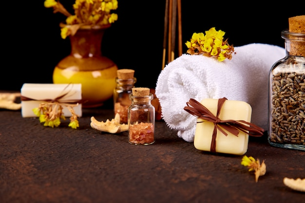 Spa concept. aromatic candles, towel