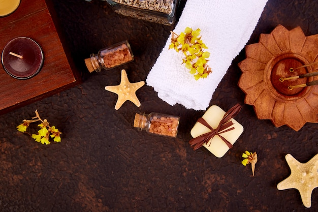 Spa concept, aromatic candles, towel
