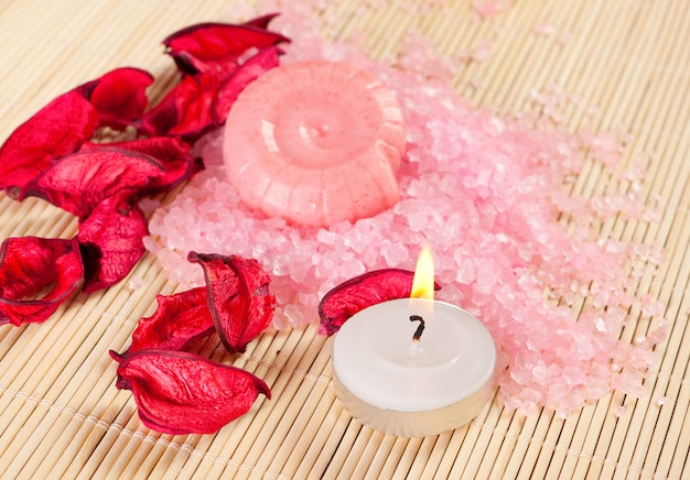 Spa concept: soap, sea salt and candle