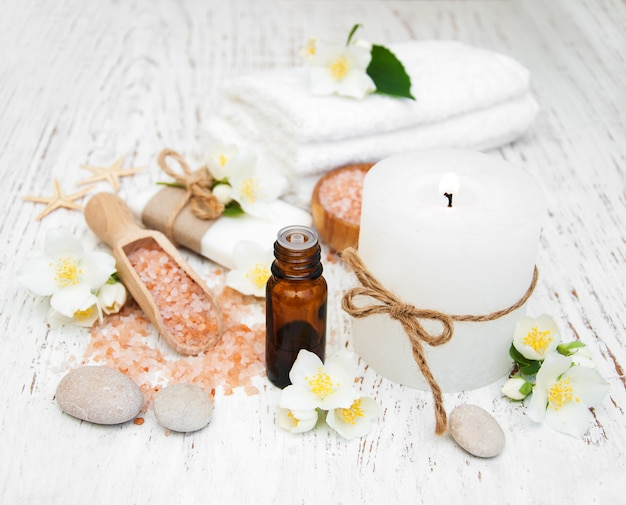 Spa concept with jasmine flowers