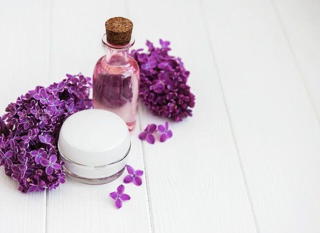 Spa concept with lilac flowers