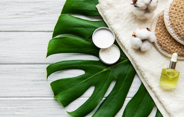 Spa concept with monstera leaf