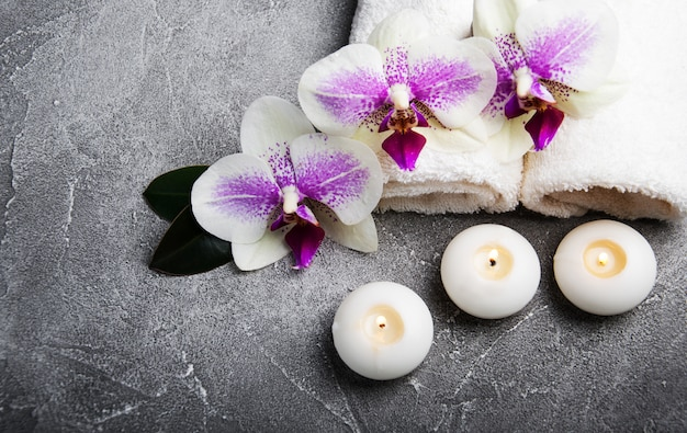 Spa concept with orchid flowers