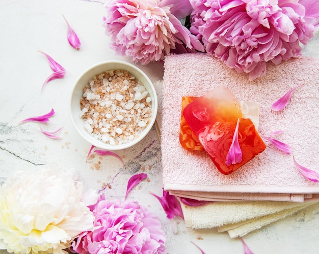 Spa concept with peonies