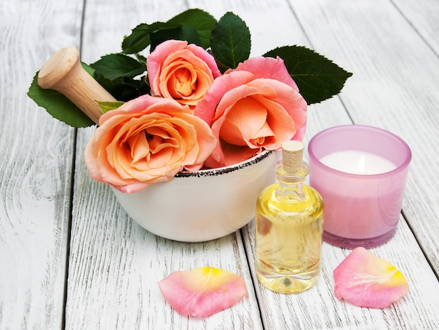 Spa concept with pink roses