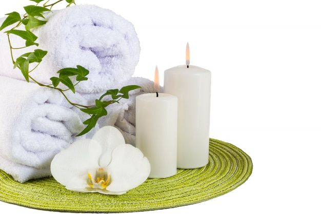 Spa concept with white orchid isolated on white