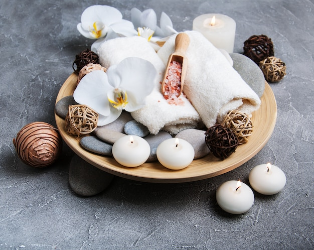 Spa concept with white orchids