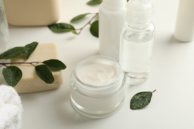 Spa cosmetic products on white table