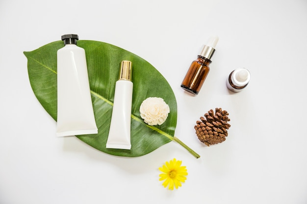 Spa cosmetics product on leaf with essential oil; pinecone; and flowers on white background