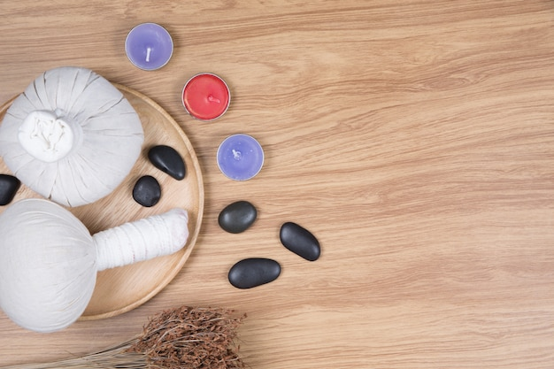 Spa decoration on wood background