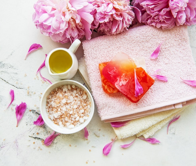 Spa elements with peonies