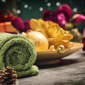 Spa festive decoration with christmas decoration