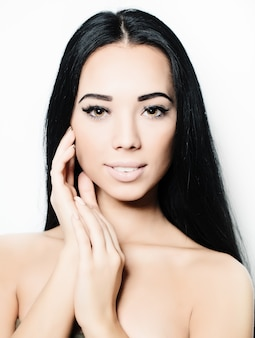 Spa girl - brunette model, face closeup