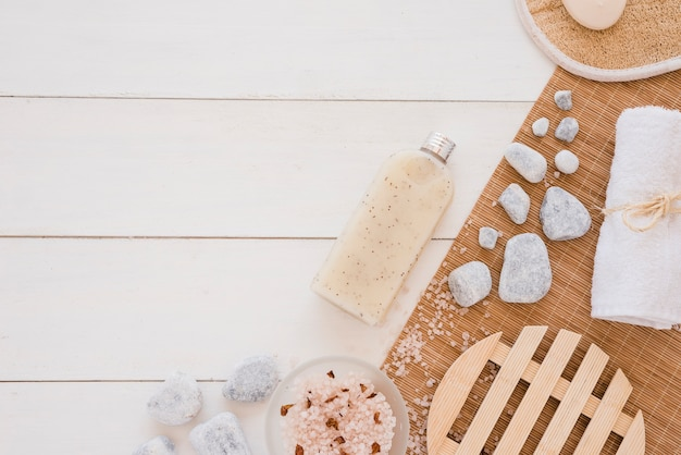 Spa implements on wooden table