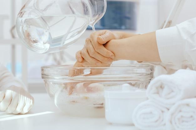 Spa manicure in process