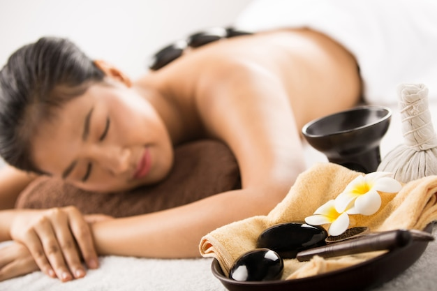 Spa massage. beauty treatments. spa hot stones.top view