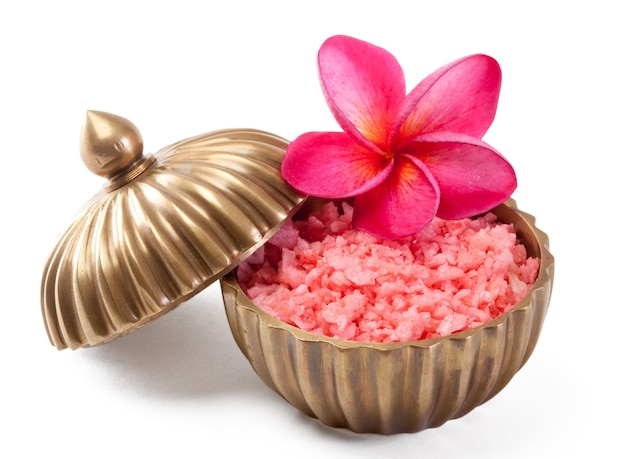 Spa massage and body scrub with towels compress balls and flowers