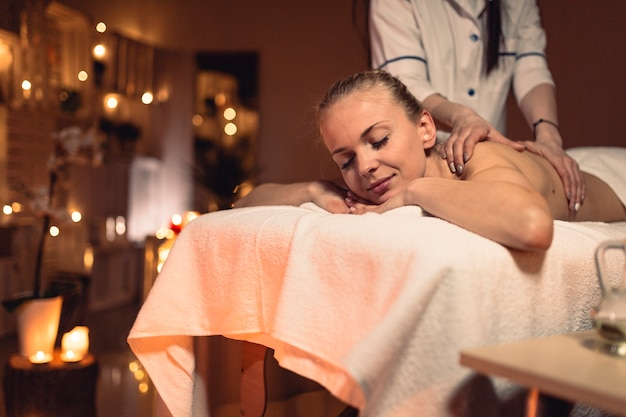 Spa and massage concept with woman