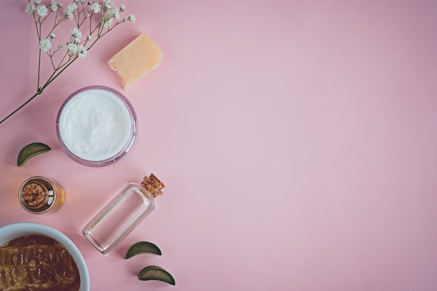 Spa natural skin care products on pink