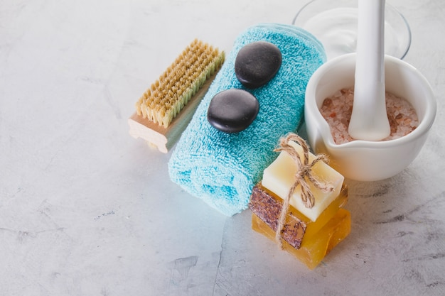Spa objects with soap and brush