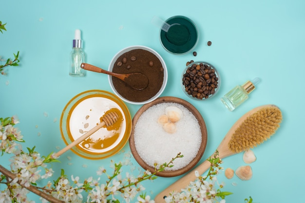 Spa products for home body care for cellulite and acne