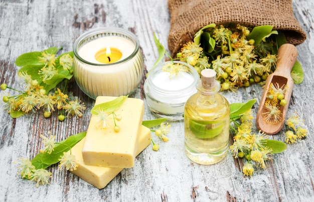 Spa products with linden flowers