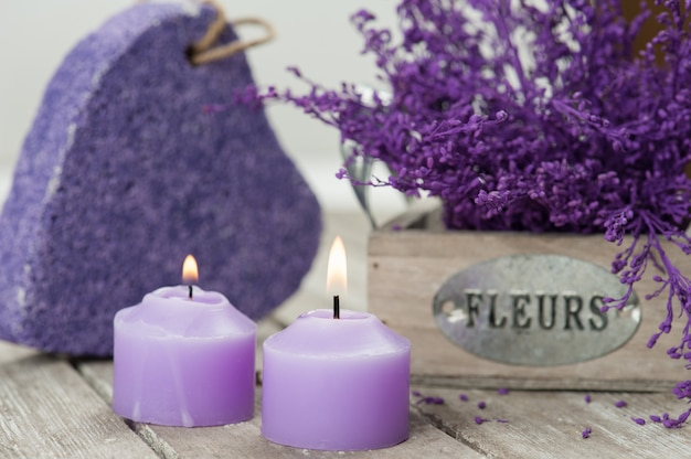 Spa pumice and candles