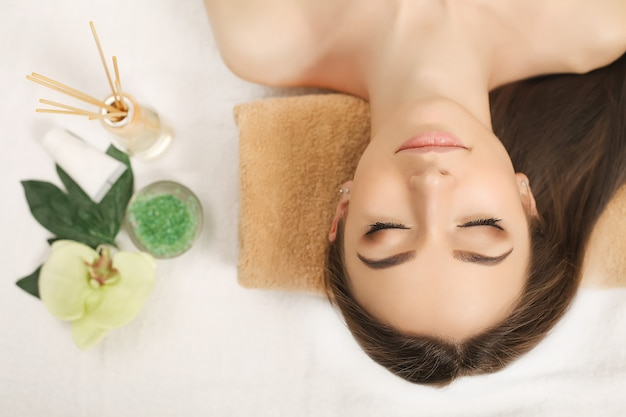 Spa relaxation, woman body care