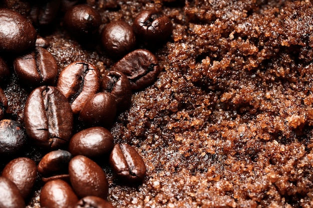 スパスクラブコーヒーとチョコレートのテクスチャのクローズアップ