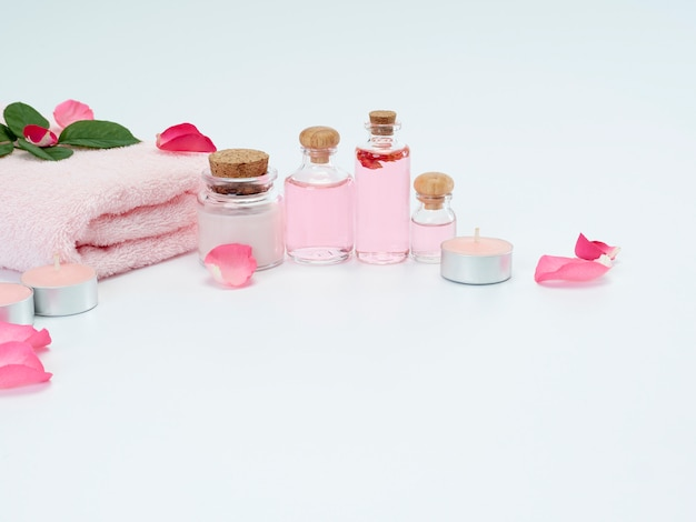 Spa set of rose oil and scented candles