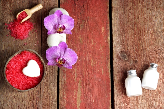 Spa set with red bath salt, orchid and soap