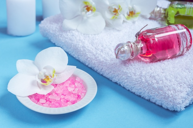 Spa setting still life with orchid flower