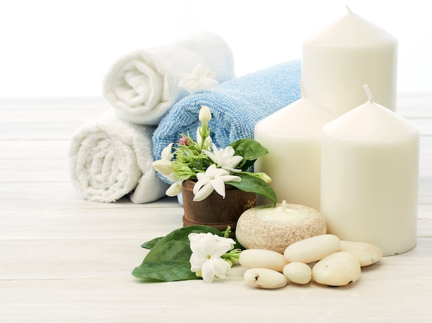 Spa setting on white wooden background