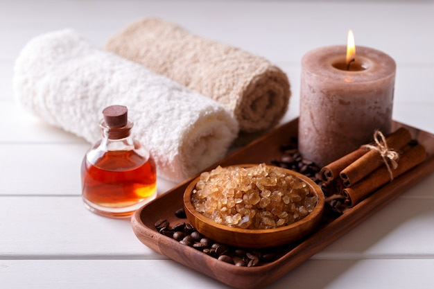 Spa setting with aromatic candle