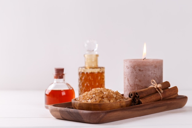 Spa setting with aromatic coffee candle