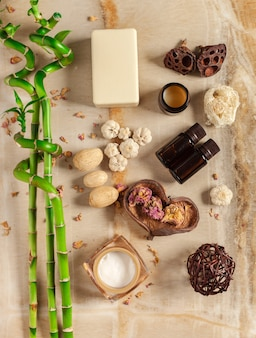 Spa setting with beauty treatment accessories