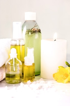 Spa setting with  sea salt and aroma oil, vintage style