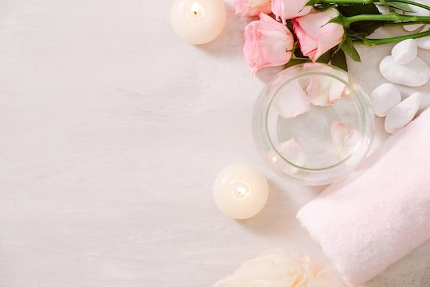 Настройки спа с розами тема спа со свечами и цветами на столе