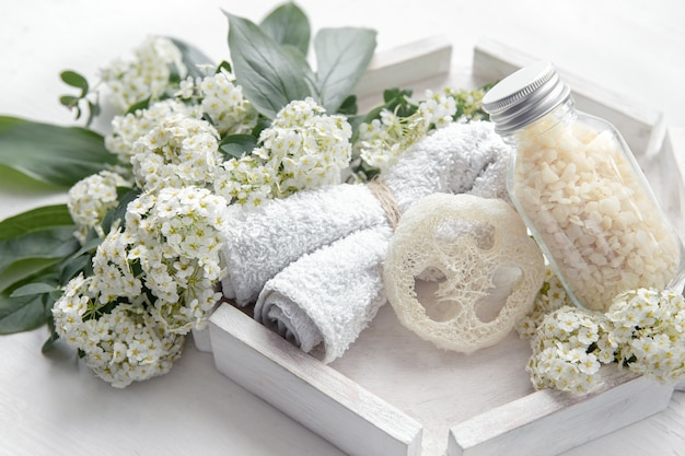 Spa still life with health and body care products, loofah and sea salt